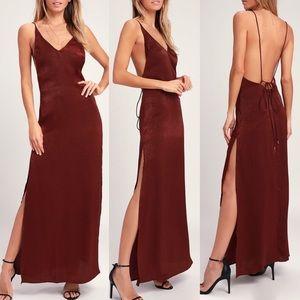 Lulus Nania Burgundy Backless Satin Maxi Dress